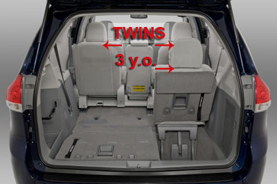Minivan configuration for twins