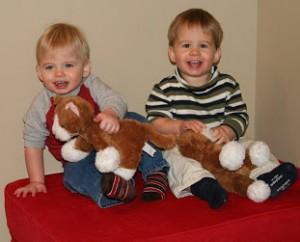 Twin Boys climbing
