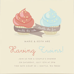 Cupcakes Twin Shower Invites