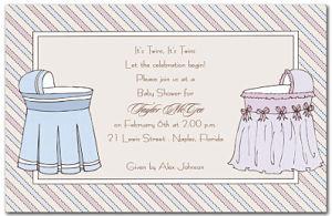 Twin Bassinets Shower Invitation