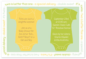 Twin Onesies Shower Invitations