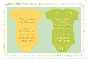 Twin Onesies Shower Invitations