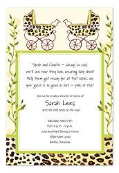 Cheetah Twin Shower Invites