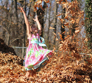 Fall family leaf jumping